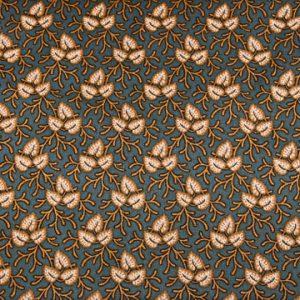 tissu-andover-feuilles-jaunes-fond-bleu-lemillepatch