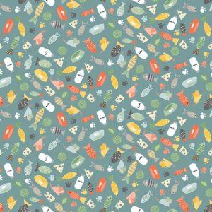 Tissu Makower 2184 T bleu lemillepatch