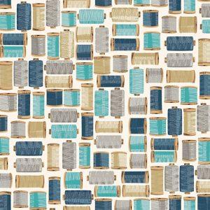 Tissu Makower 2139 B bleu lemillepatch