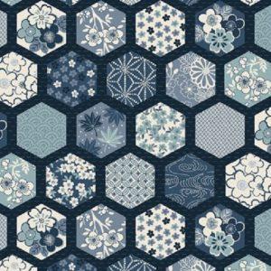 Tissu Makower 2151 B bleu lemillepatch