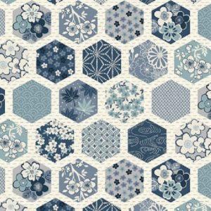 Tissu Makower 2151 Q bleu lemillepatch
