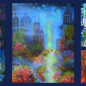 Tissu Clothworks Y 3094-55 bleu lemillepatch