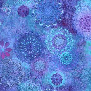 Tissu Clothworks Y 3118-90 bleu lemillepatch