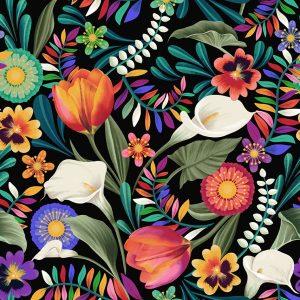Tissu Clothworks Y 3130-3 noir lemillepatch