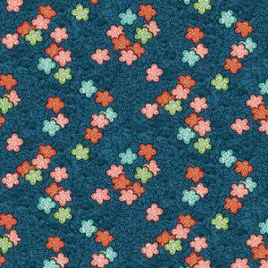 Tissu Makower 2336 B bleu lemillepatch
