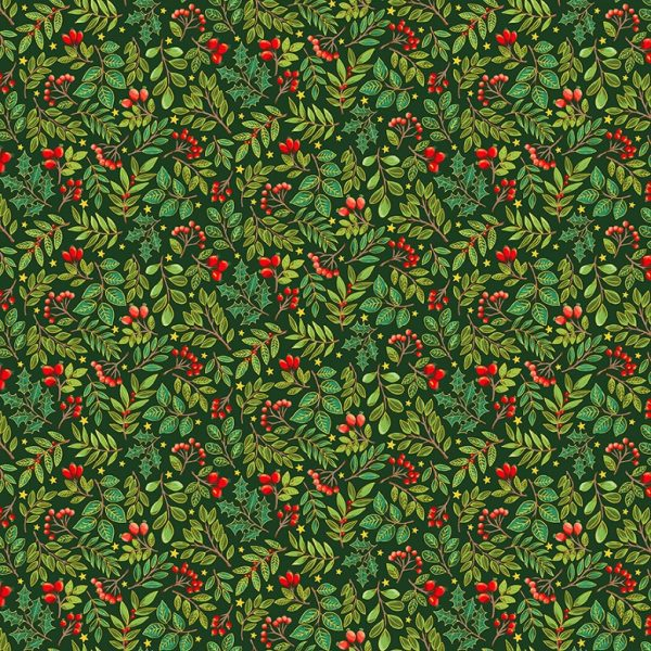 Tissu Makower 2375 G vert lemillepatch