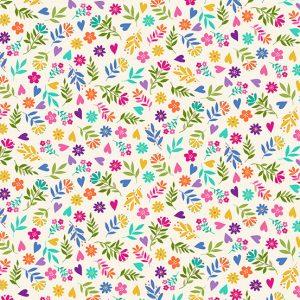 Tissu Makower 2351-Q blanc lemillepatch